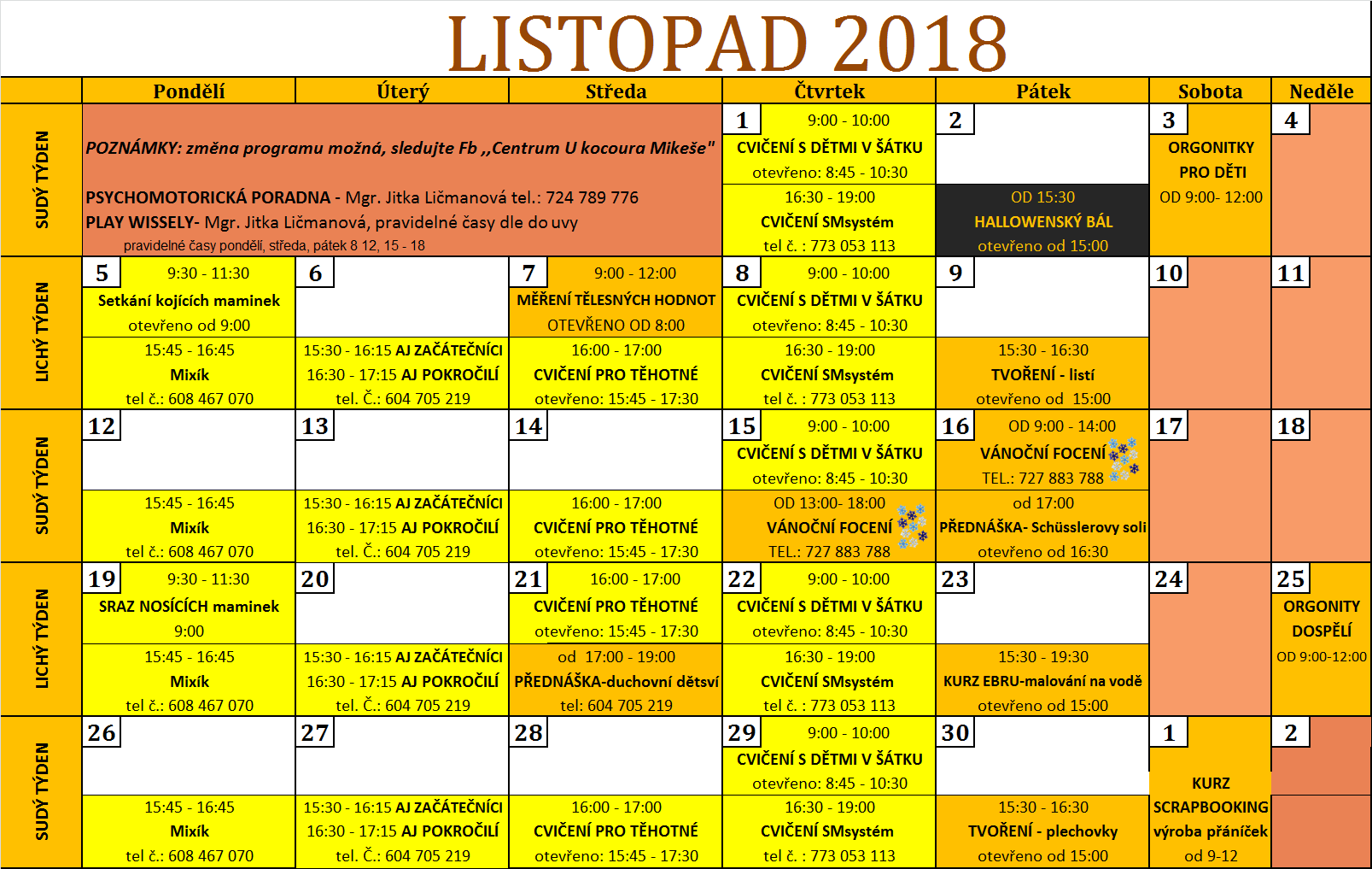 Program listopad 2018